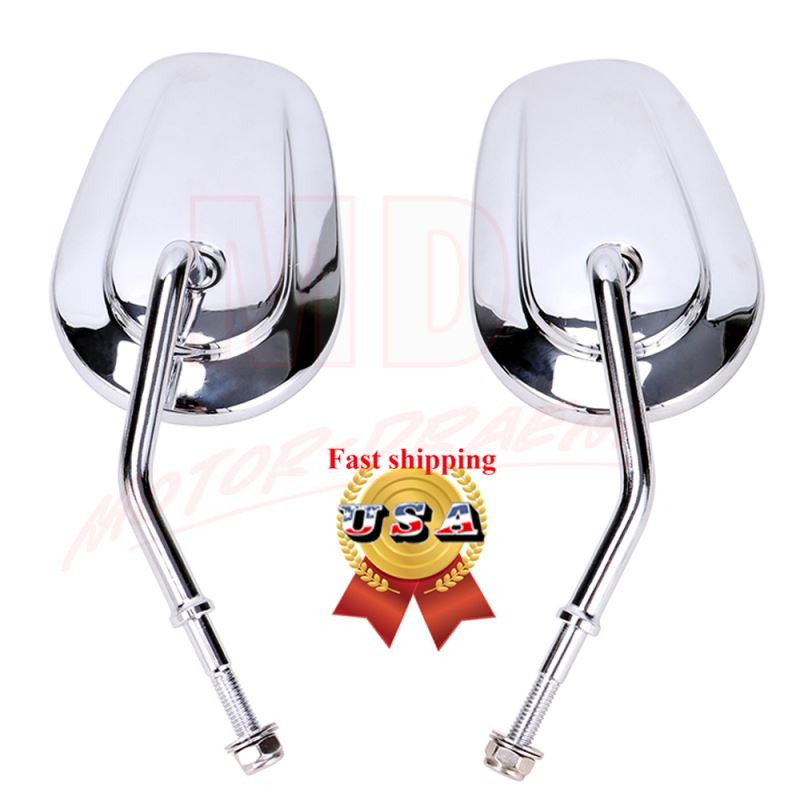 Chrome Teardrop Rearview Side Mirrors For Harley Touring