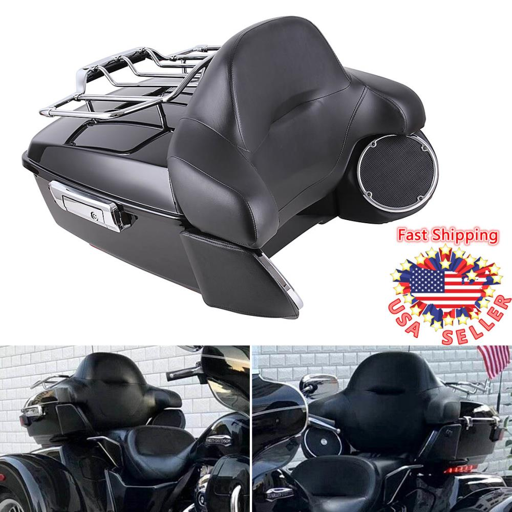 Tour Pak Pack Trunk W// Backrest For Harley Touring Road King Electra Glide 14-19