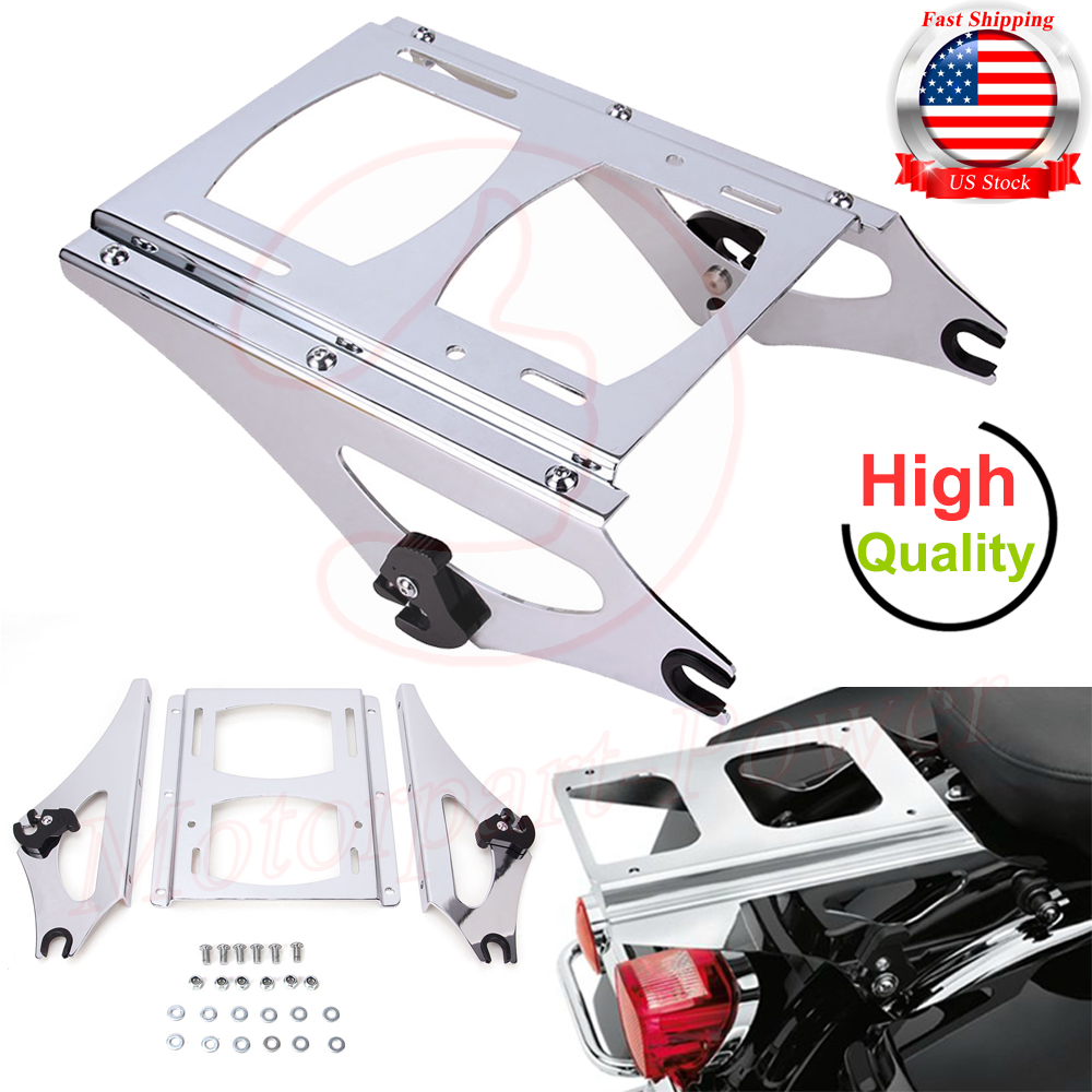 Black Detachable 2 Up Tour Pak Pack Mounting Rack for Harley Touring 2009-2013