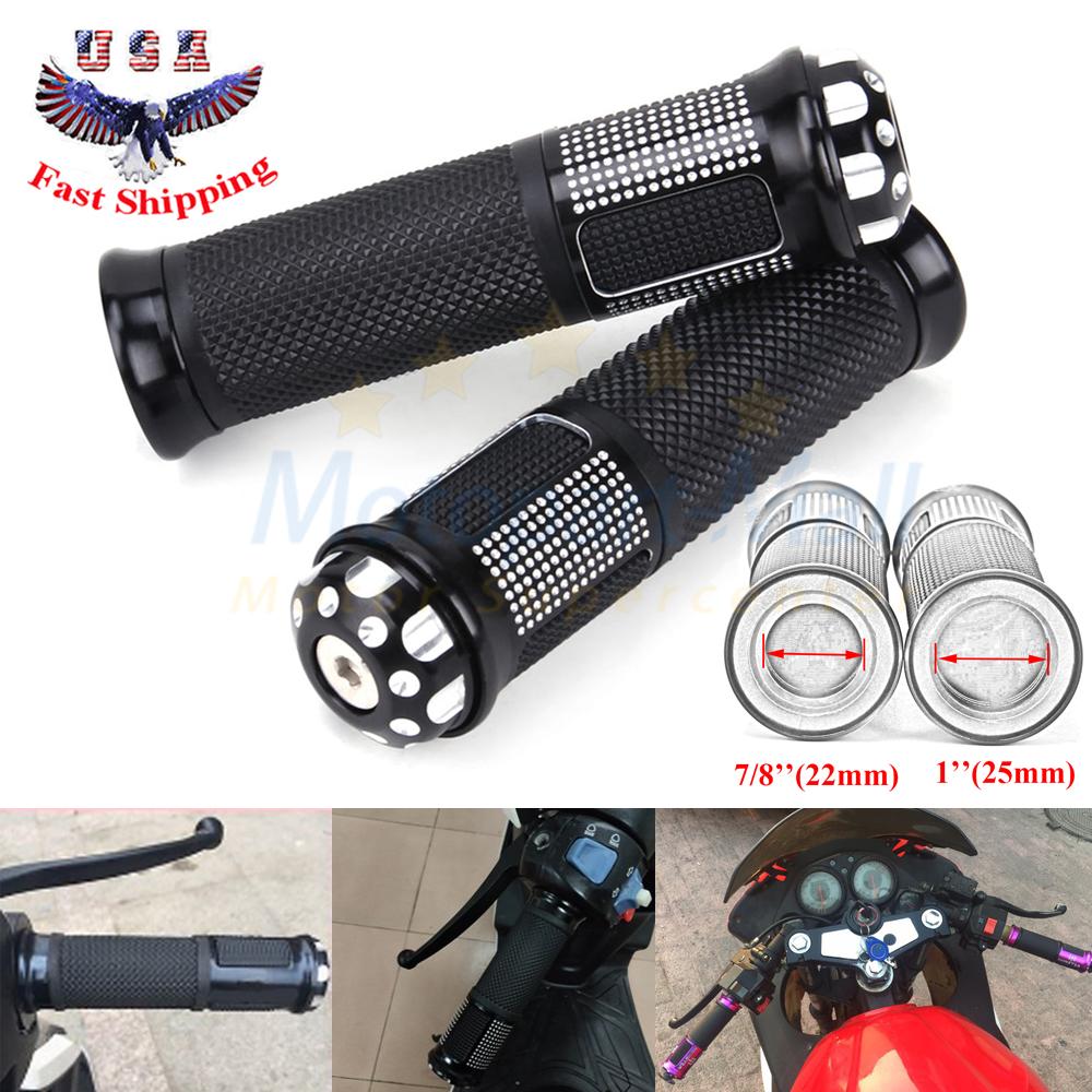 "7//8/"" 22mm Rubber Gel Handle Bar Hand Grips Universal Fit Motorcycle Street Bike"