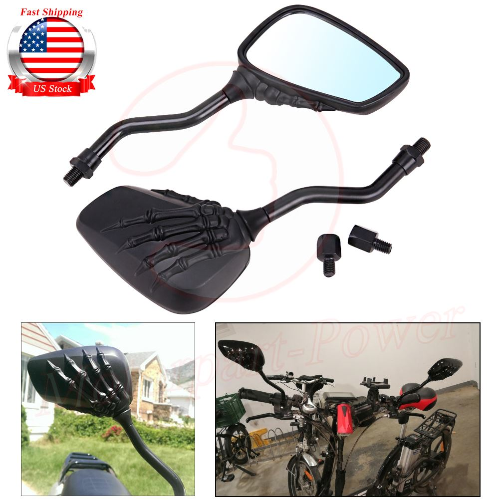 Integrated LED Skeleton Claw Turn Signal Light Rearview Mirrors for Motorcycle with 8mm 10mm Thread Bolts
