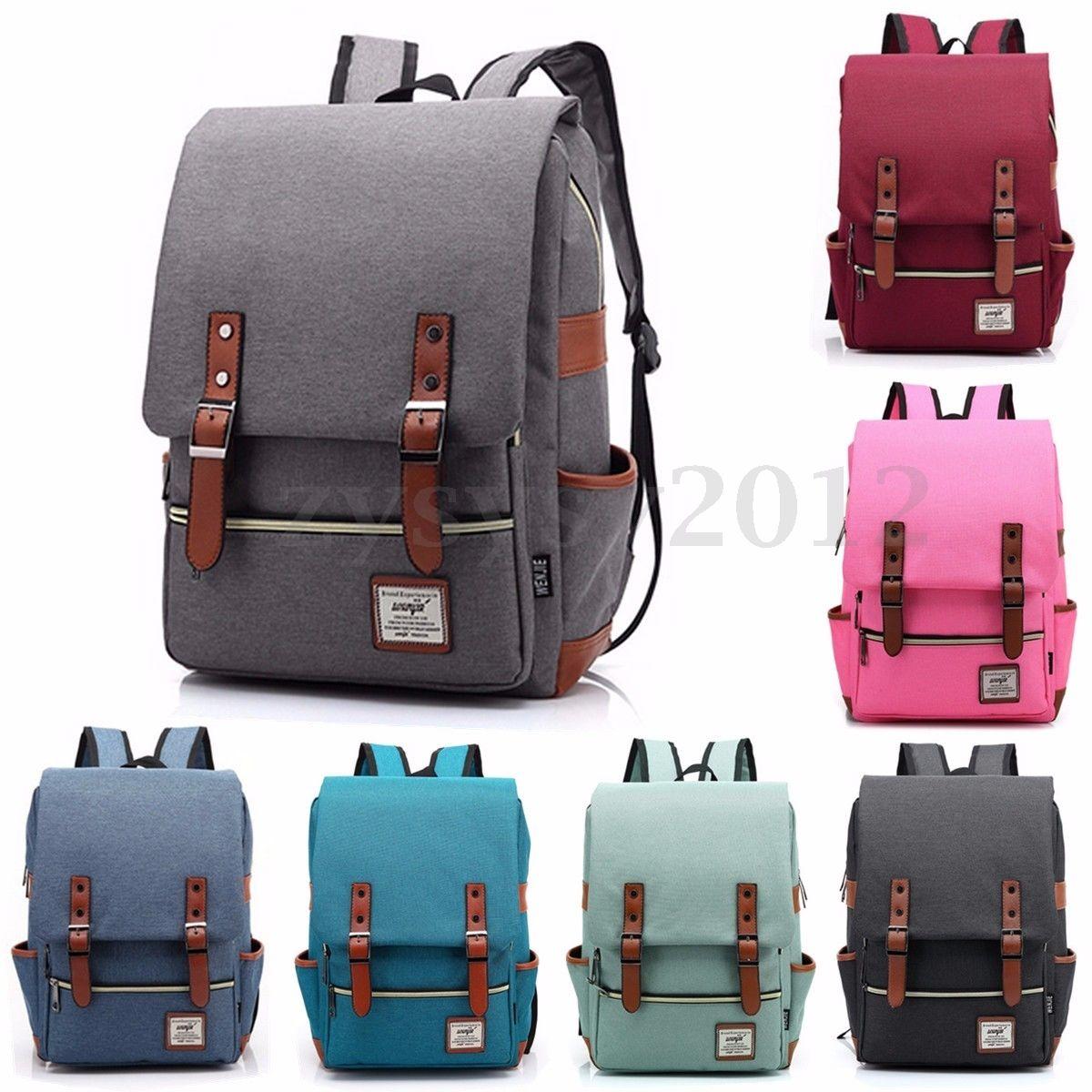 Men Women Shoulder Canvas Backpack Rucksack School Travel College Bag Solid