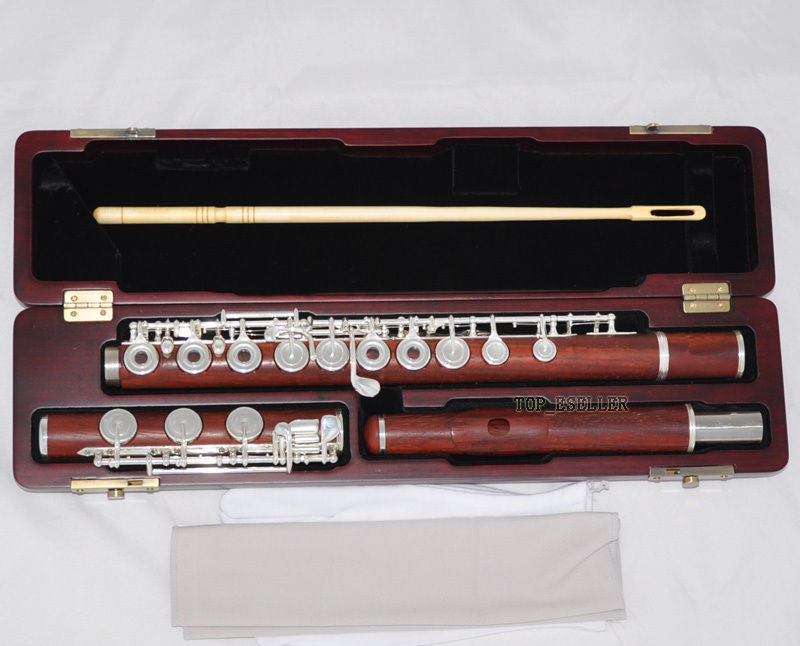 Details About Professional New Grenadilla Rose Wooden Flute Open Hole B Foot In Line G Wcase