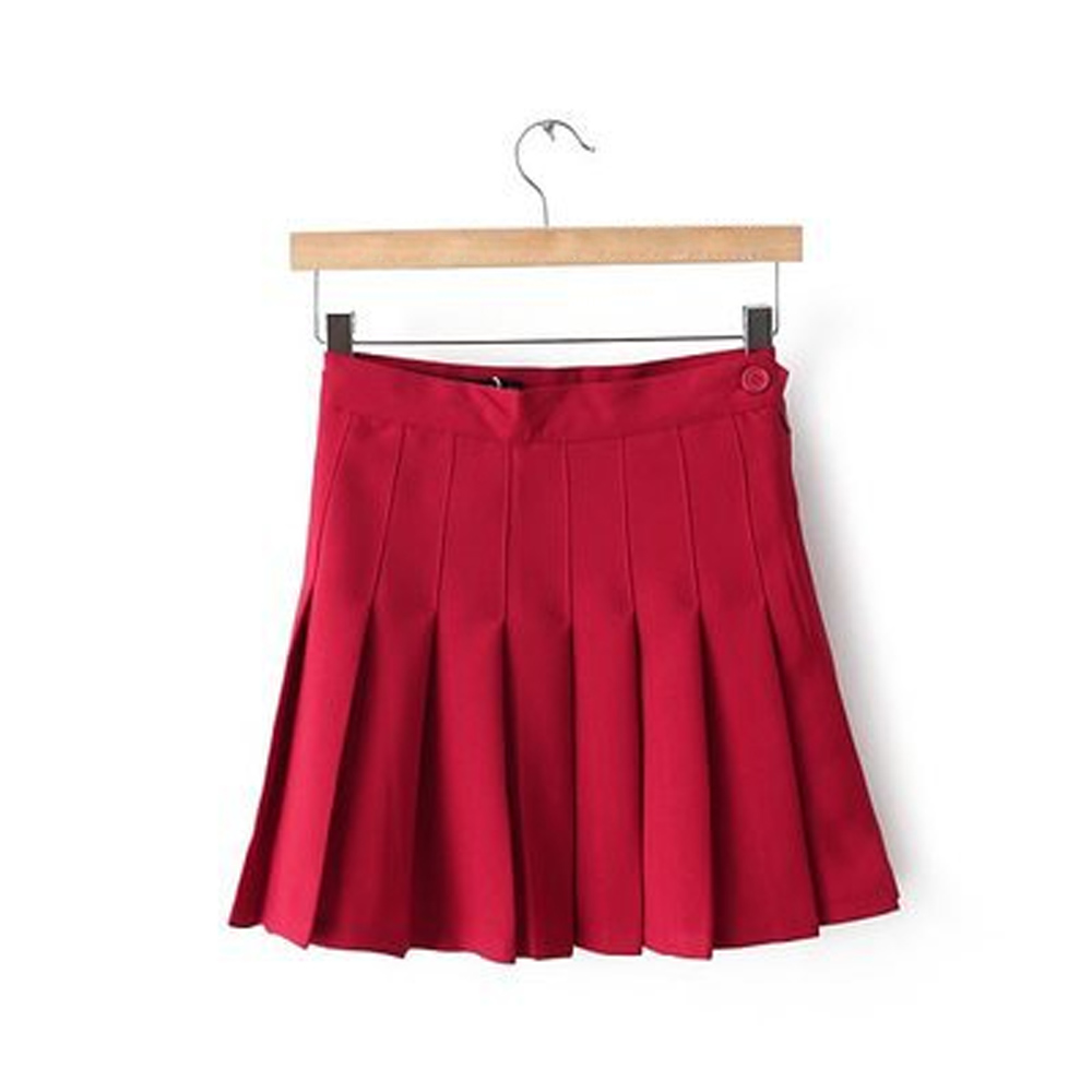Women-Spring-Soild-Pleated-Skirt-Pantskirt-High-Waist-Tennis-Mini-Skirt-XS-XL