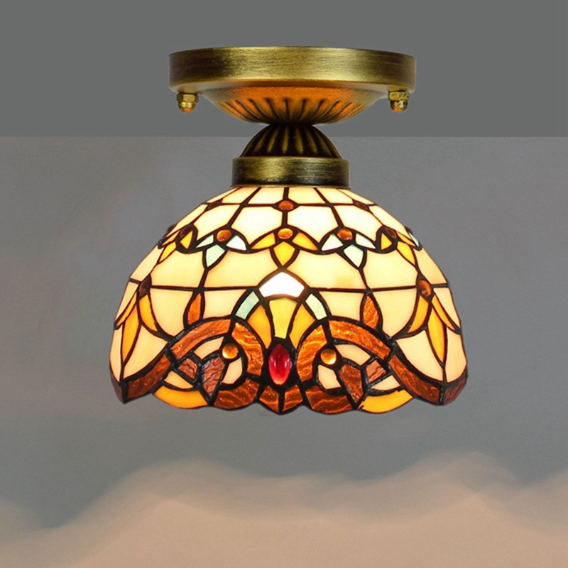 Details About Tiffany Style Lighting Semi Flush Mount Pendant Ceiling Lamp Stained Gl Shade