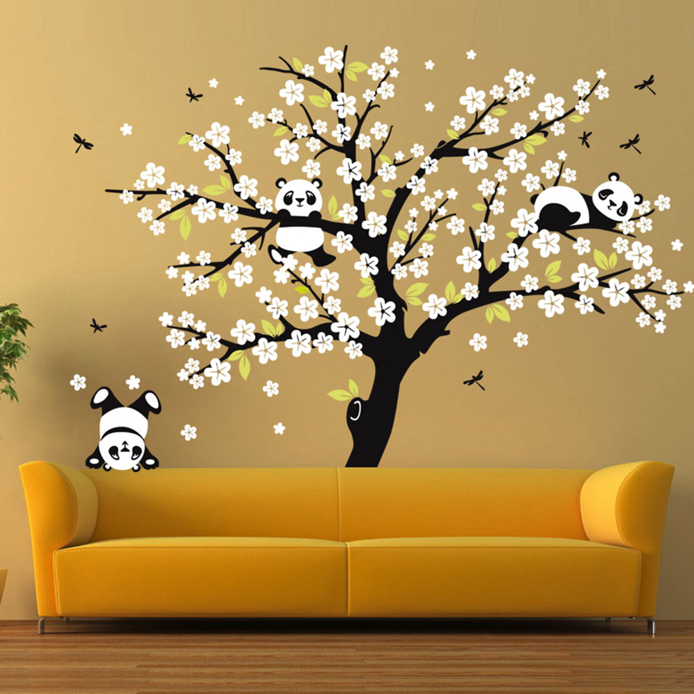 Cute Panda Cherry Blossom Tree Wall Large Decals Removable Sticker ...
