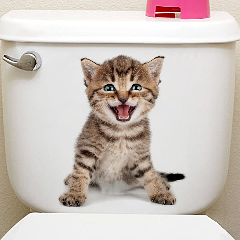 3d Cute Cats Wall Sticker Toilet Refrigerator Stickers Home Bathroom