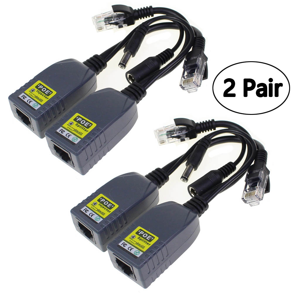 2 Pair 48v Power Over Ethernet Dc Cable Kit Poe Rj45 Adapter Electronic Kits Injector Splitter