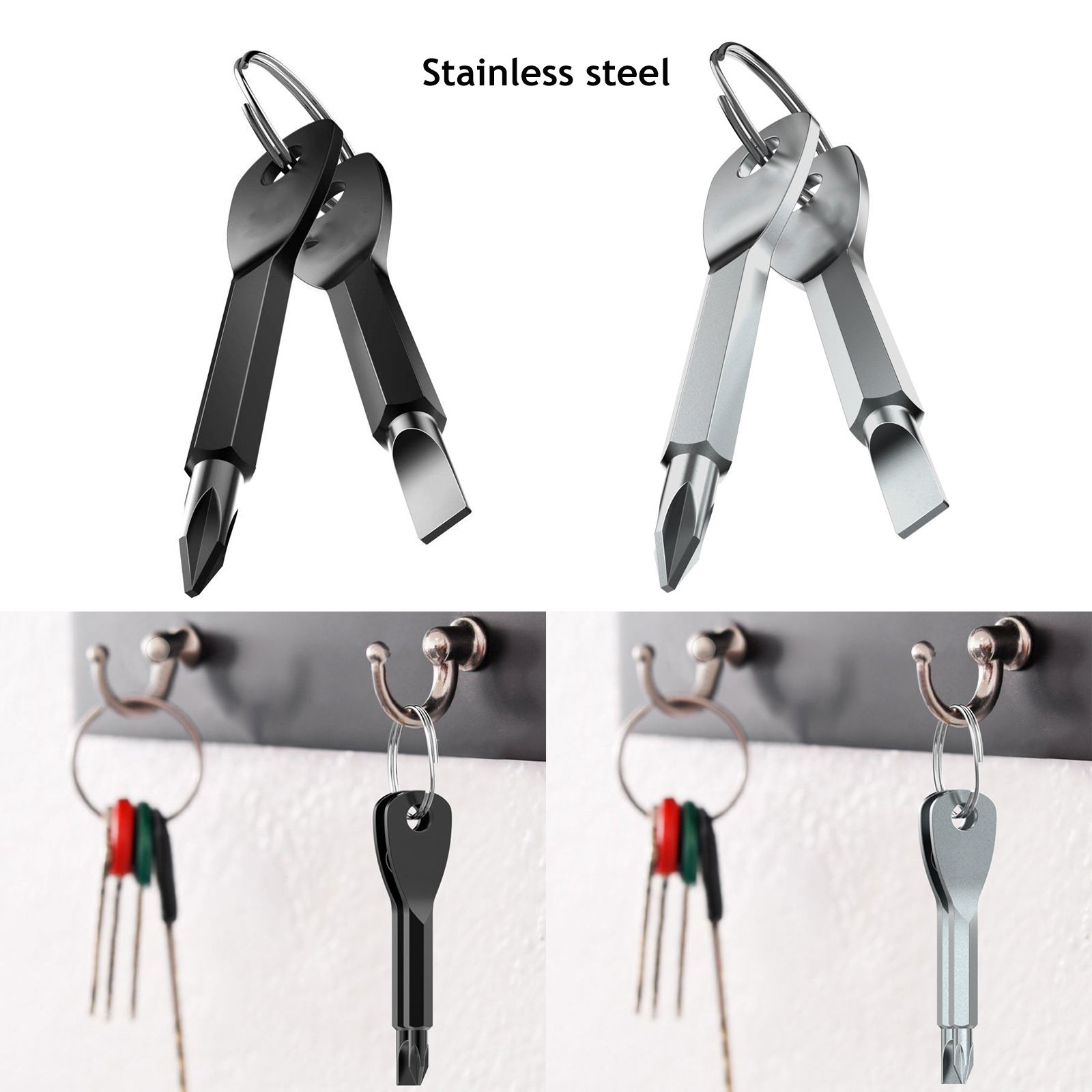 Multifunction Outdoor Stainless Steel Screwdriver Cross Head with Key Ring DF#BB