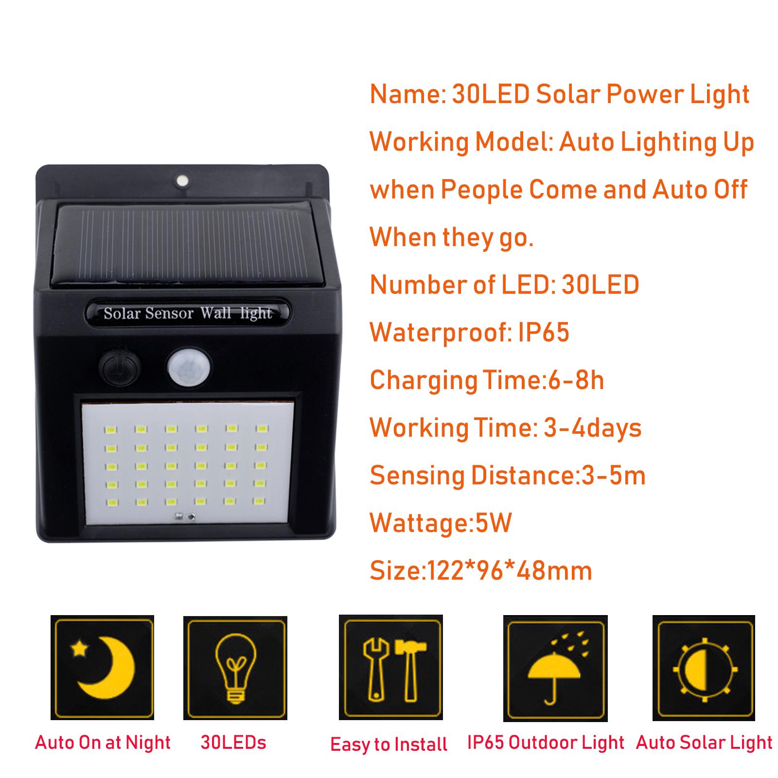 30led Solar Power Light Pir Motion Sensor Security Outdoor