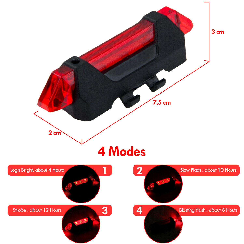 FWE Rechargeable USB 3 Mode Arrière 15 LM Vélo Lumière
