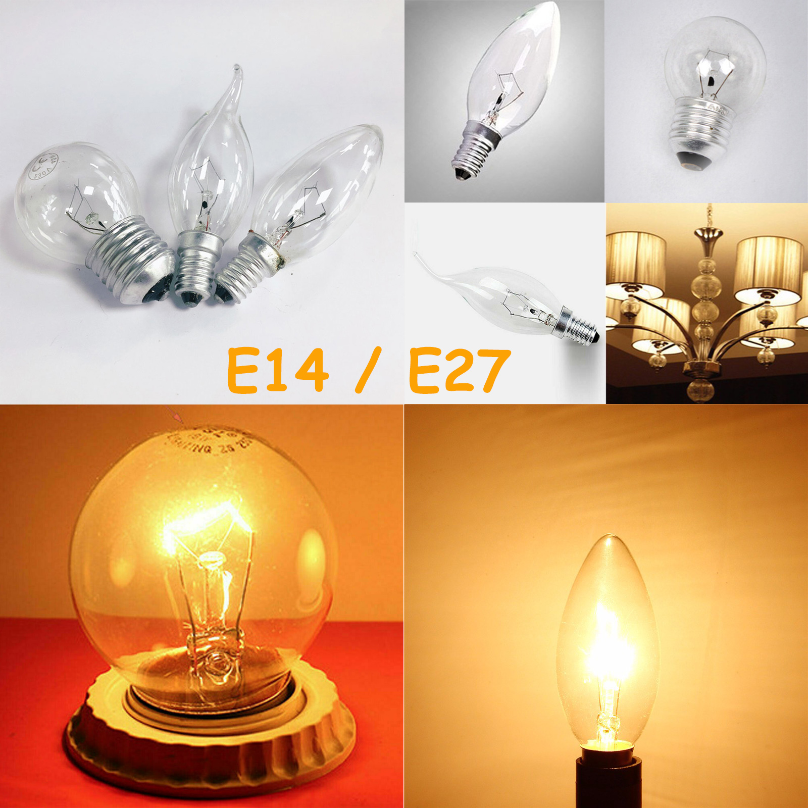 Details About E14 E27 Incandescent Light Bulb 25w 40w Retro Tungsten Filament Lamp Soft White