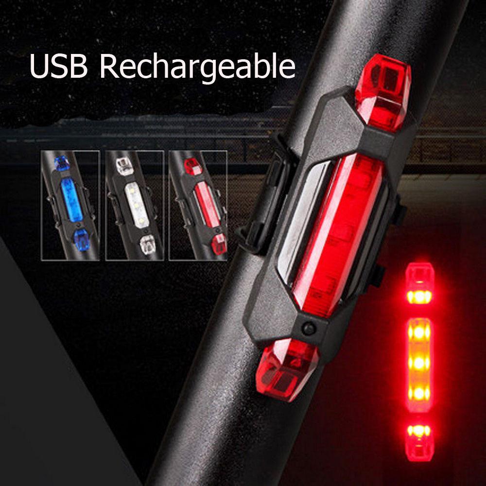 Delantero Recargable USB /& Trasero Laser 5 Led Bicicleta Luces Juego Juego Para