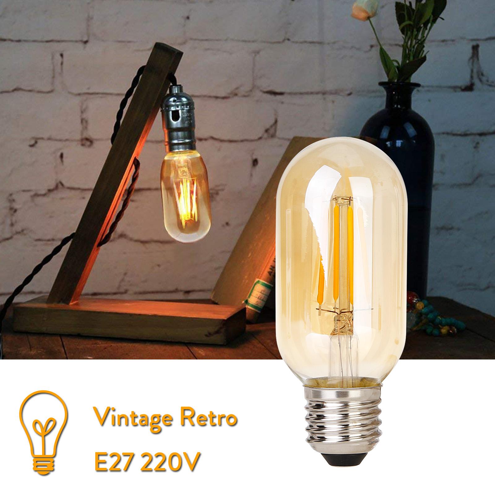 T45 4W E27 Vintage Retro LED COB Glühbirne Warmweiß 220V 30W Äquivalent Lampe