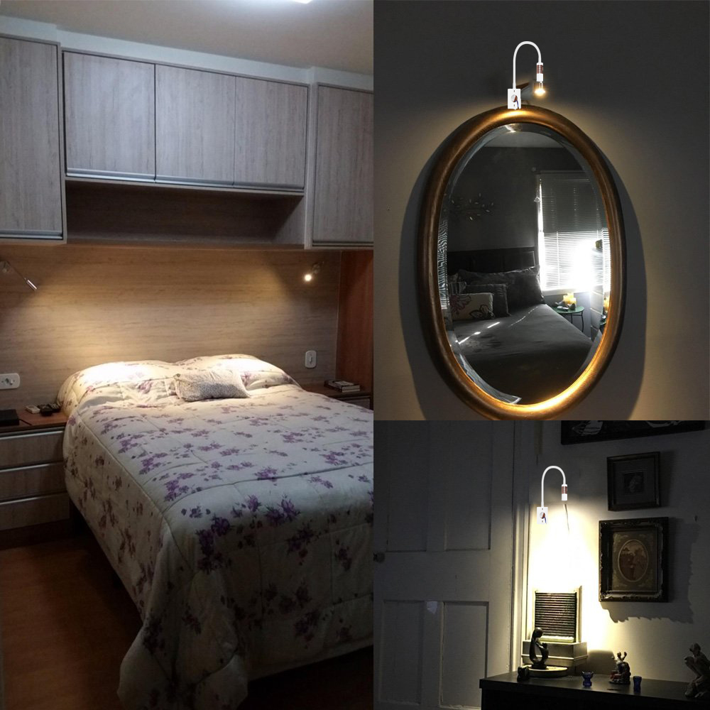 Details about 1/5X Dimmable Bed Headboard Reading Light Flexible Industrial  Wall Sconce Light