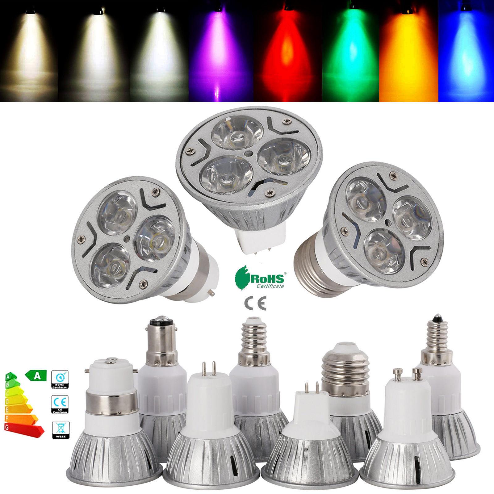 energieeinsparung led dimmbar e14 e27 gu10 gu5 3 b22 spotlicht 3w cree licht ebay. Black Bedroom Furniture Sets. Home Design Ideas