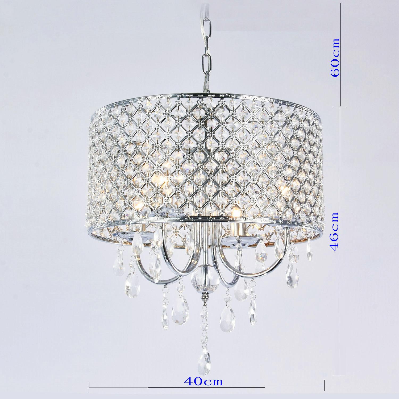 Drum Chandelier Crystal Modern 4 Lights Ceiling Light Fixture Lamp
