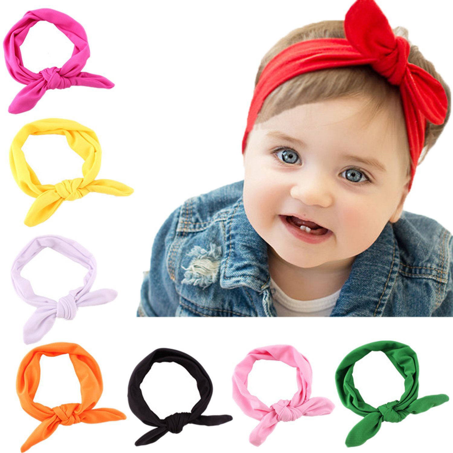 2472188b08ff Details about 8pcs Kids Girl Baby Headband Toddler Lace Bow Flower Hair  Band Accessories