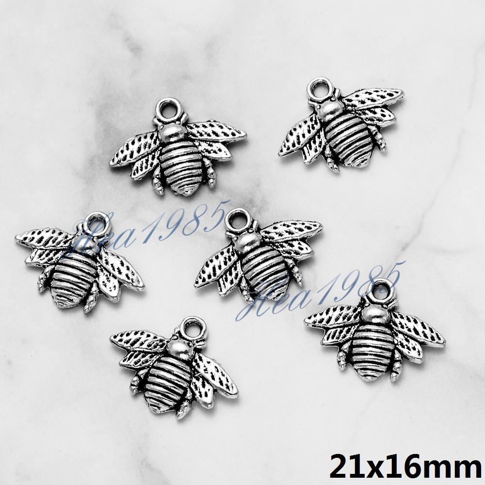 Lots 50PCS Tibetan Silver Crafts Making Jewelry Honeybee Charms Pendants 21*16mm
