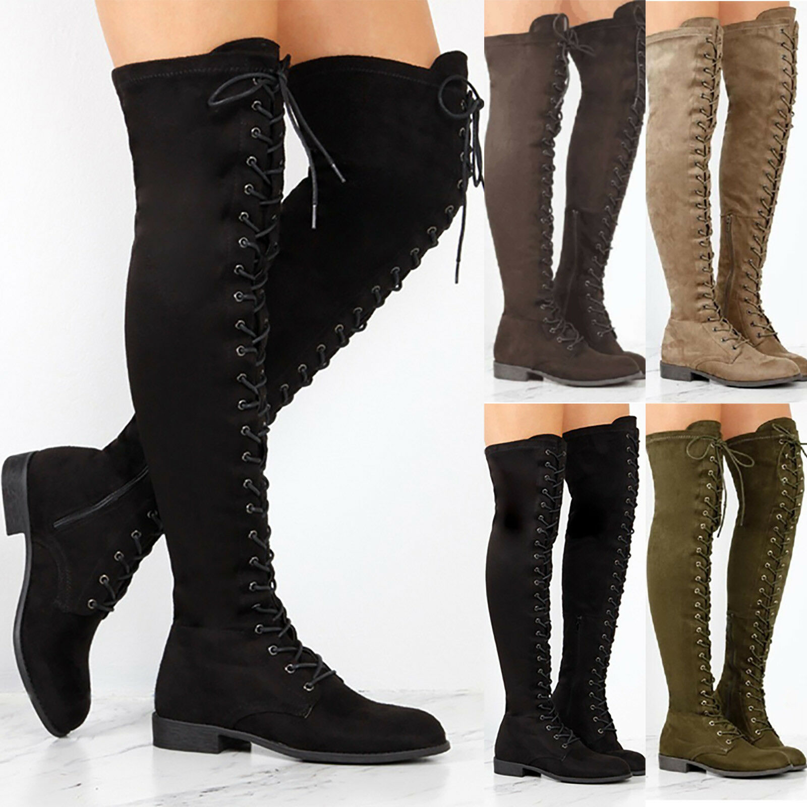 Women Lace Up Mid High Heel Riding Long Boots Ladies Suede Tall OTK Shoes Winter