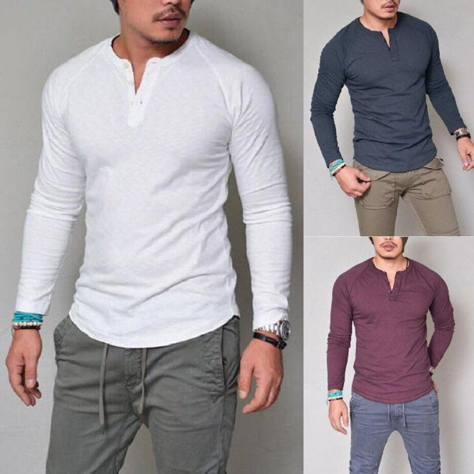 530c46d8d93 Details about Fashion Men s Slim Fit V Neck Long Sleeve Muscle Tee T-shirt  Casual Tops Blouse