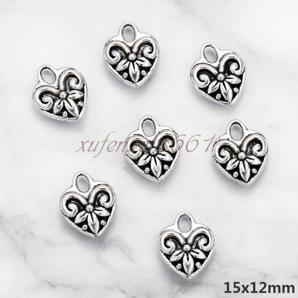 50pcs Tibet silver heart Charm Pendant Make Jewelry Diy 12MM
