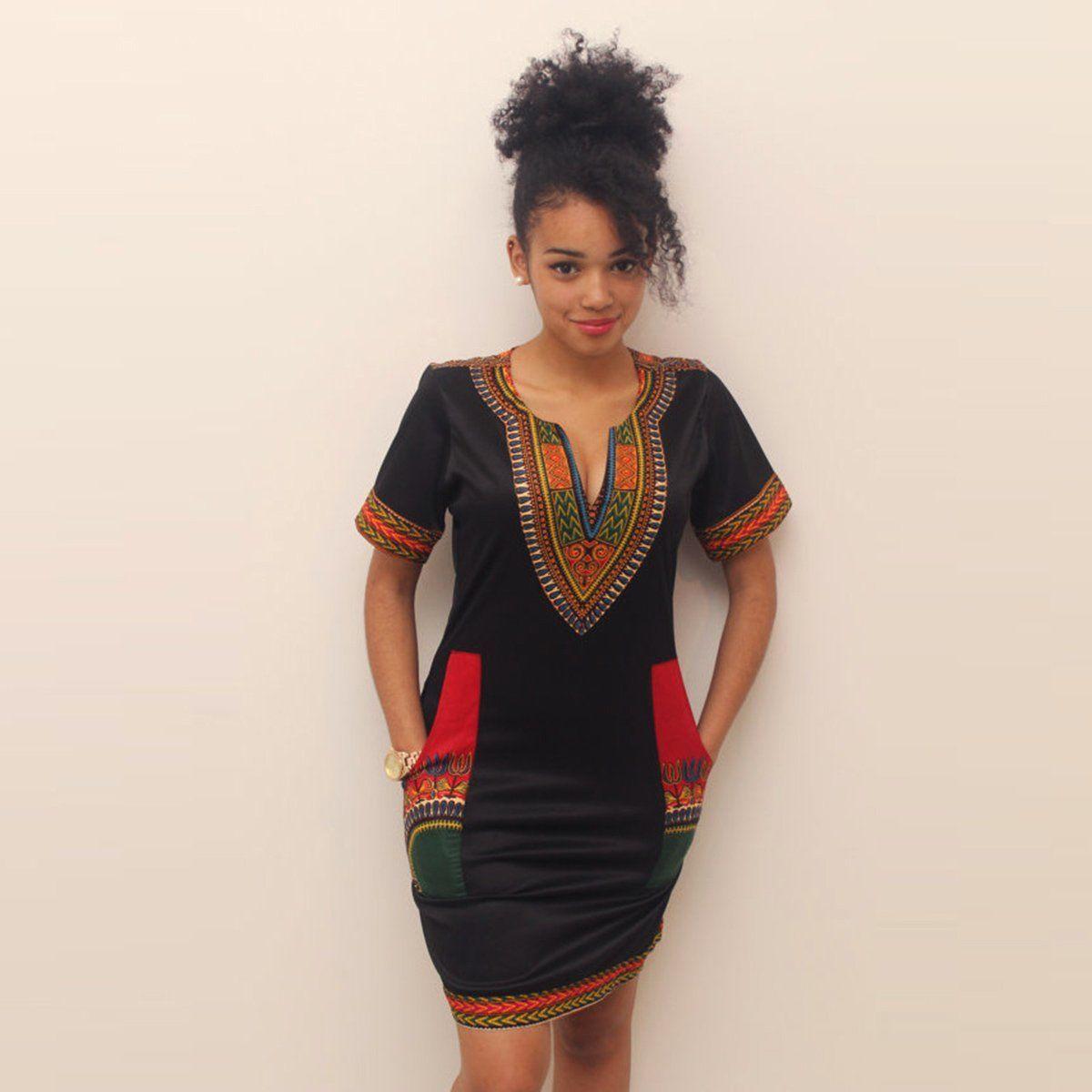 Fashion Women's Traditional African Print Dashiki Dress ...