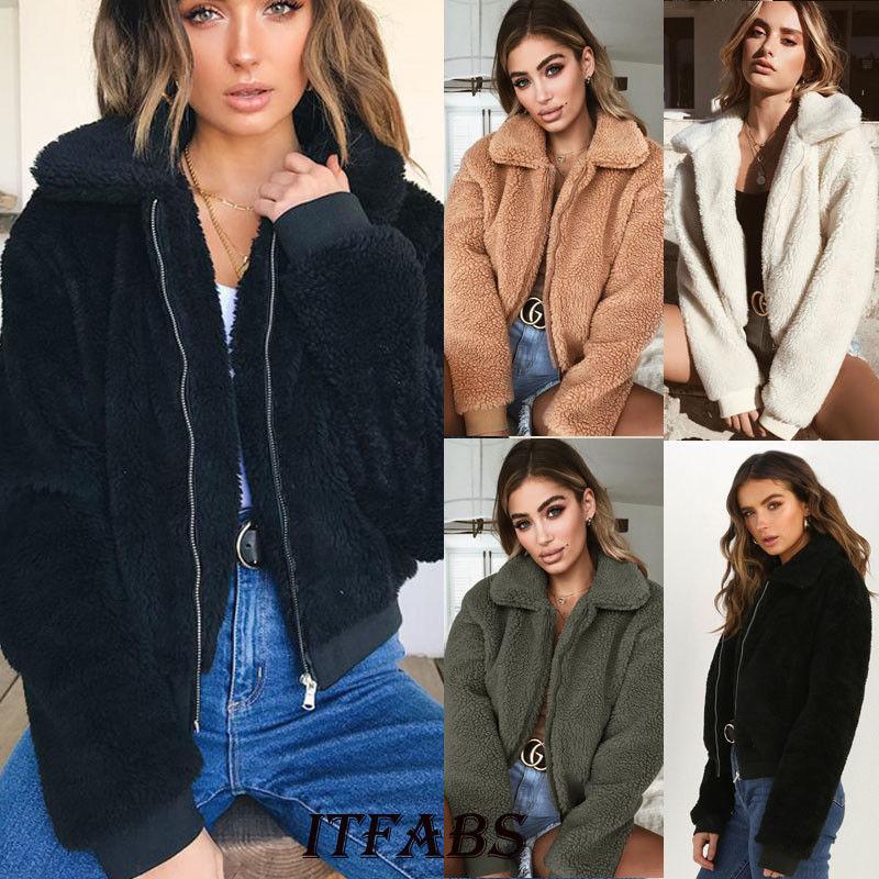 US Women Warm Teddy Bear Fleece Tops Zip Up Lady Jacket Oversized Outdoor Coats
