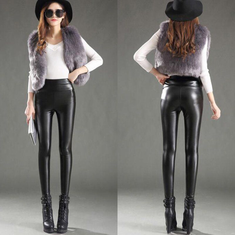 Women Winter Thick Warm Leather Leggings Stretch Skinny ...