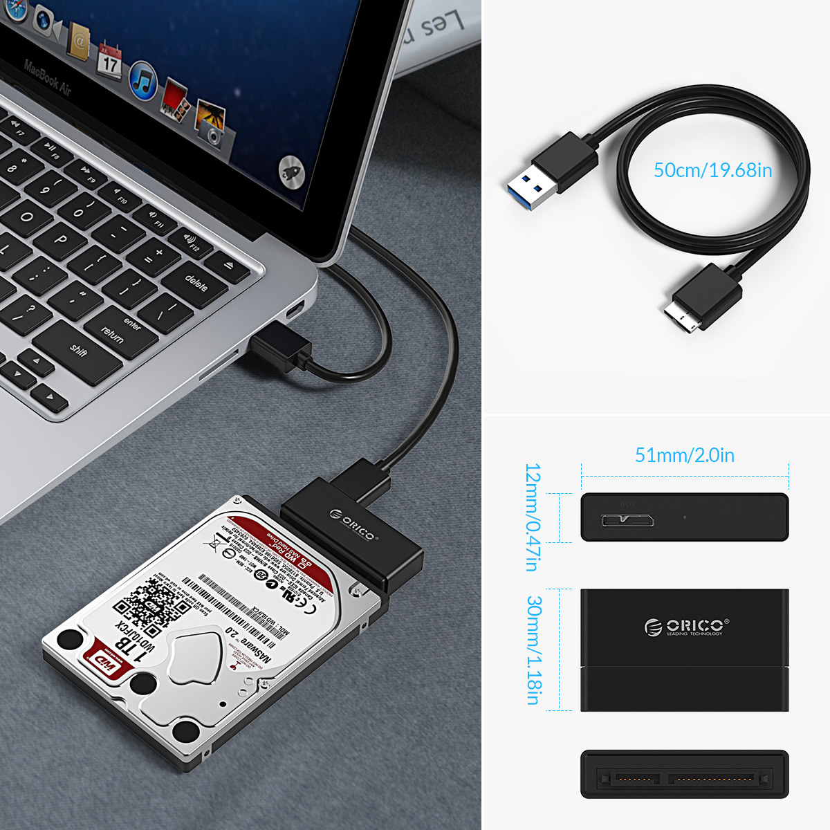"""ORICO USB 3.0 to SSD SATA 2.5/"""" Hard Drive Converter Adapter with Transfer Cable"""