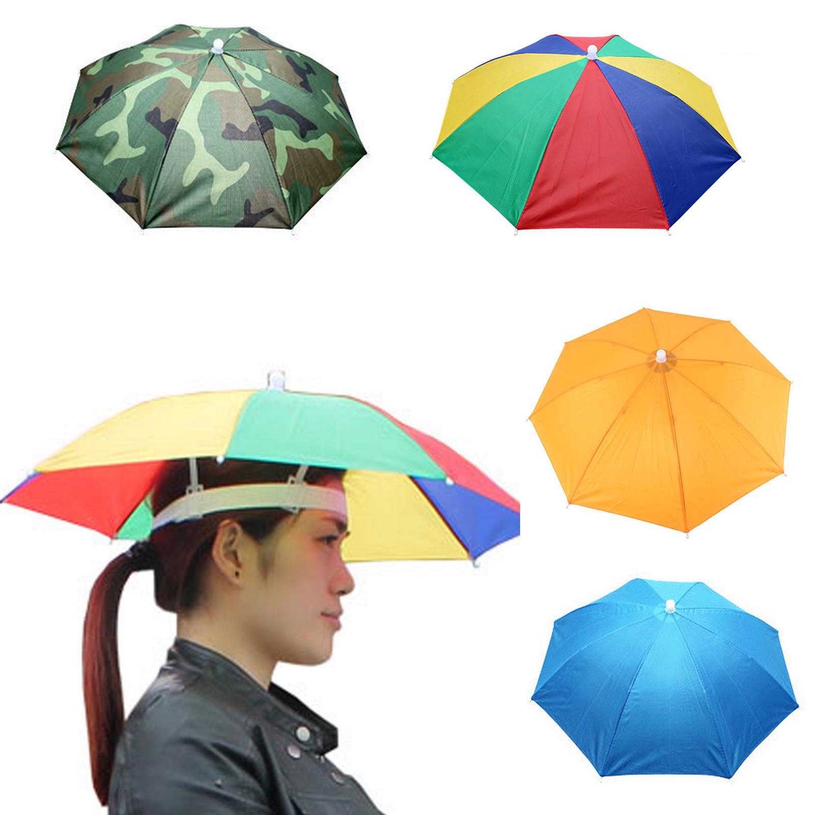 2f4c4275 Details about Umbrella Hat Sun Shade Camping Fishing Hiking Festivals  Outdoor Brolly 4 Color