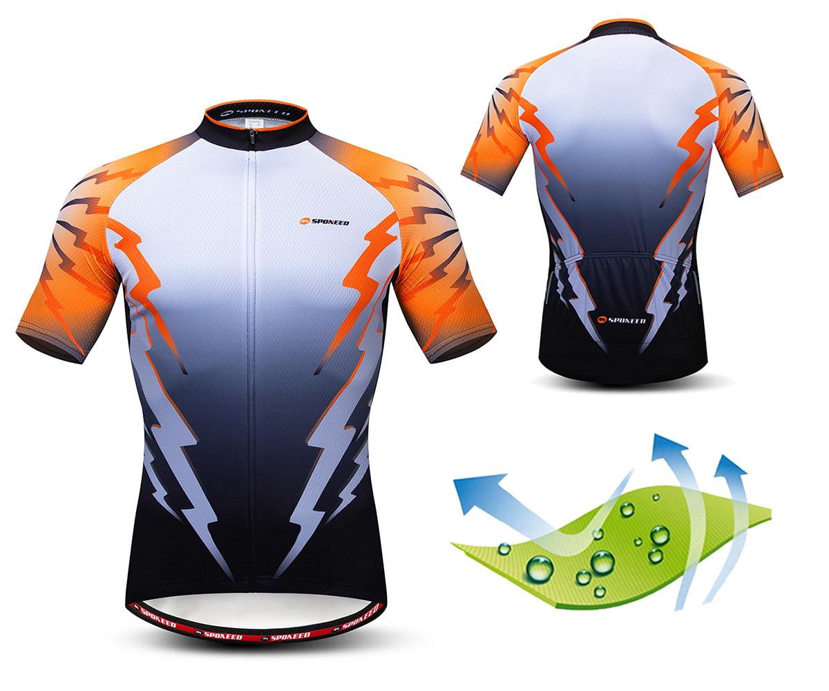 Orange Men/'s Cycling Shirt Short Sleeve Bicycle Clothes Top Biking Jersey S-5XL