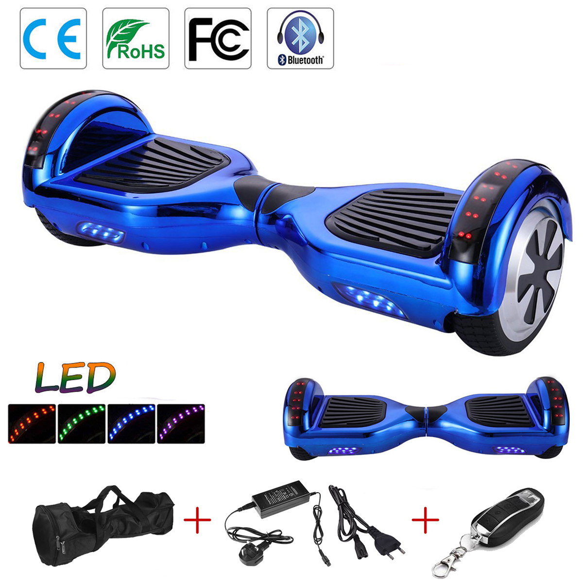 skateboard 6 5 zoll bluetooth balance board smart self. Black Bedroom Furniture Sets. Home Design Ideas
