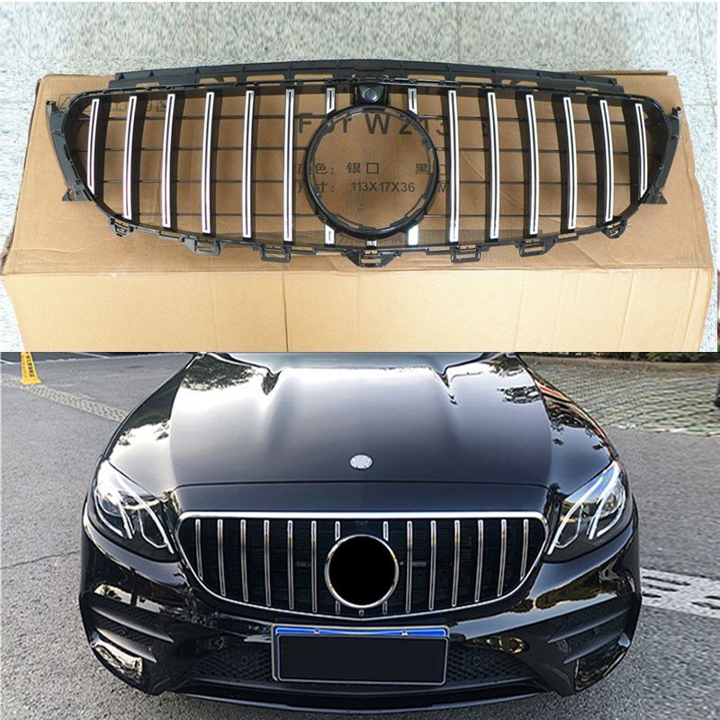 Front Silver/Black GTR Grille Grill Fit For Mercedes Benz