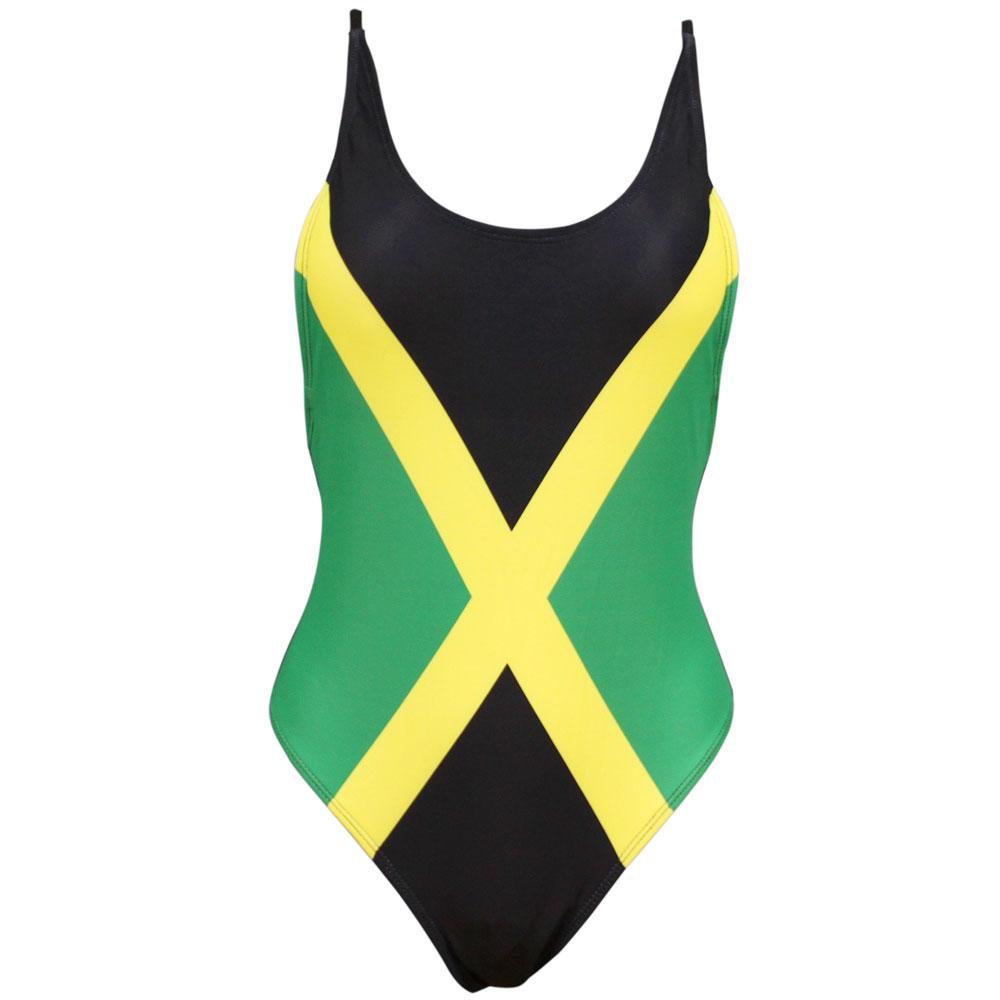 ce33142941ed8 Sexy Caribbean Jamaica Flag One Piece Swimsuit Swimwear US Size S M L XL XXL