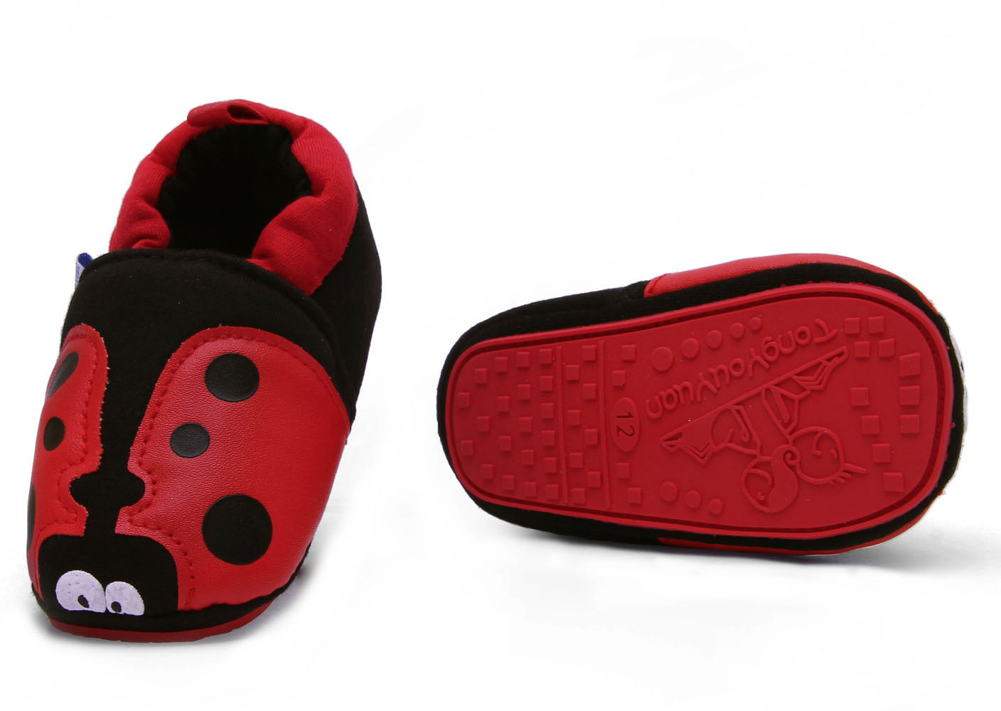 Toddler Baby ladybug First shoes soft Rubber soles crib shoes Age 0 to 18 months