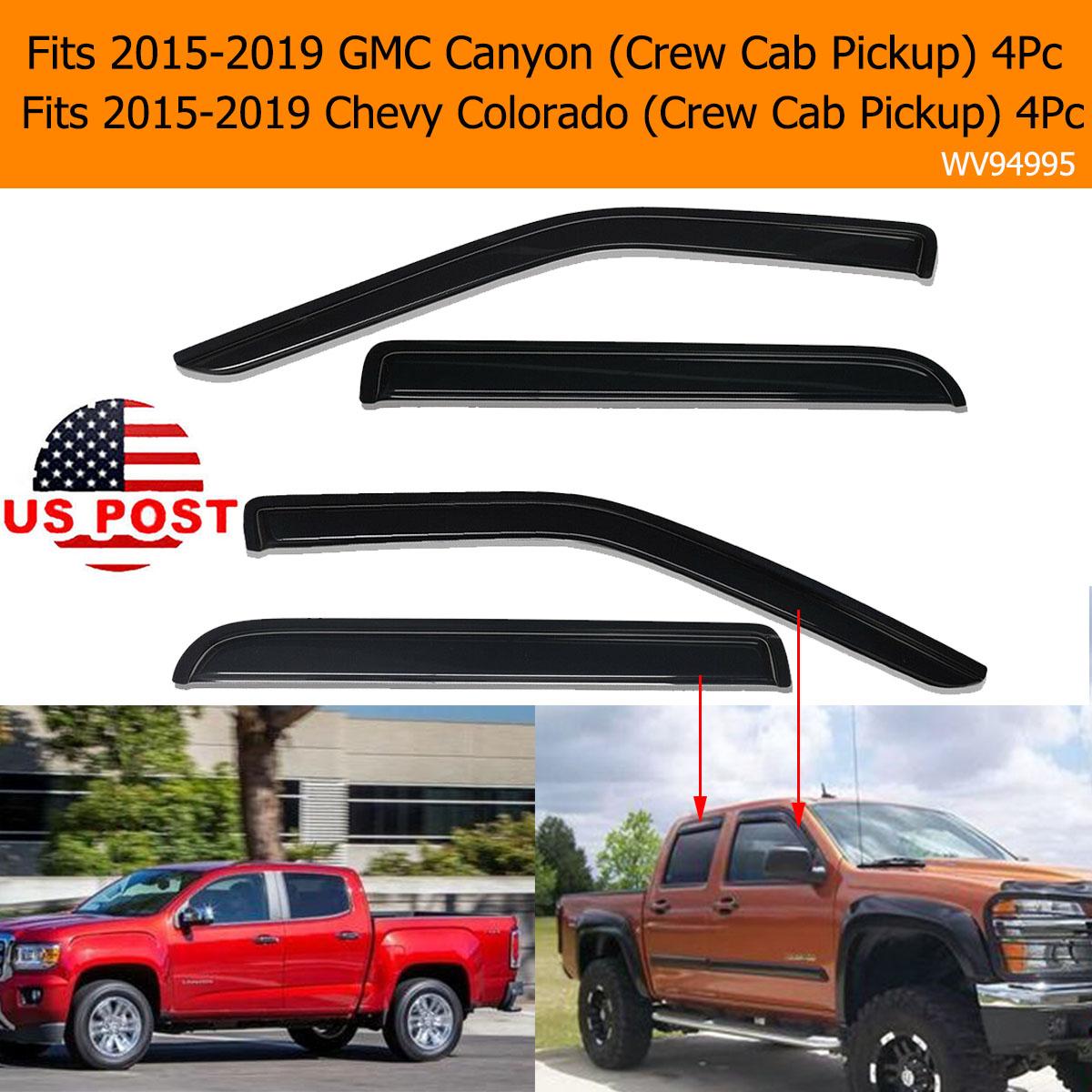 4pcs For 15-18 Colorad//Canyon Crew Cab Sun Rain Guard Vent Shade Window Visors