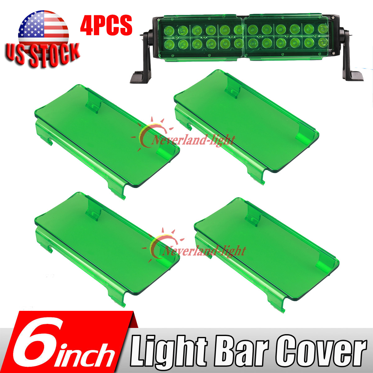 4x 6inch Snap On Green Led Work Light Bar Lens Cover Offroad 50 52 42 What Happens When A Circuit Is The Complete Lights 54