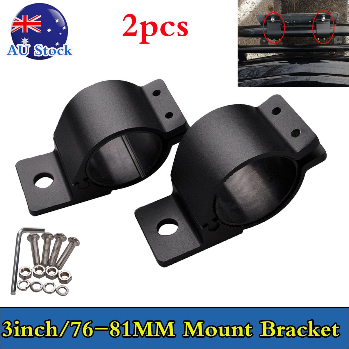 "2X 3/"" 76-81mm Bull Bar Roll Cage Mount Bracket Tube Clamps LED Light HID Holder"