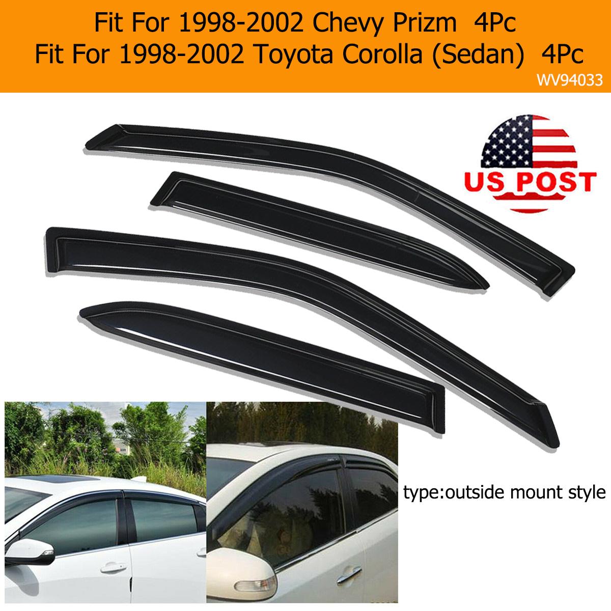 For 1998-2002 Toyota Corolla Wind Rain Deflector Sun Rain Shade Window Visor 4pc
