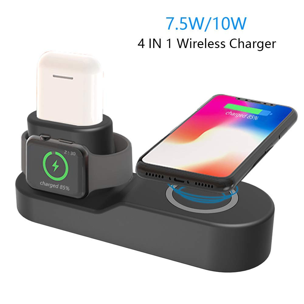 4in1 qi wireless charger dock station stand usb for apple. Black Bedroom Furniture Sets. Home Design Ideas