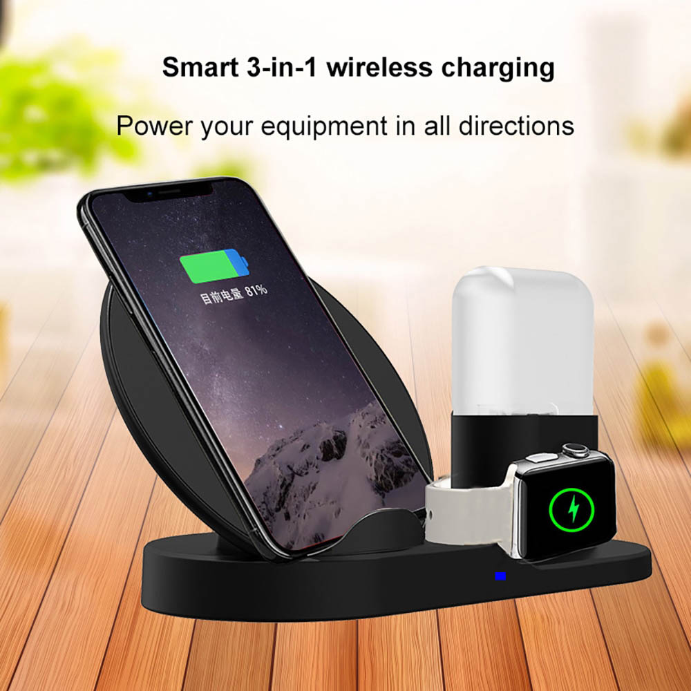 3in1 Qi Wireless Charger Dock Stand Station For Apple