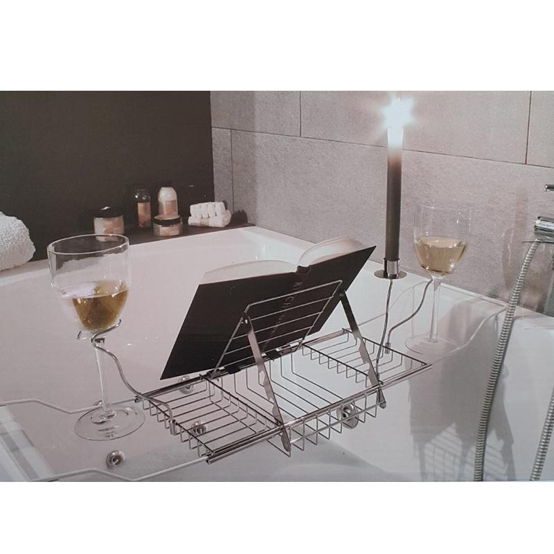 Bathtub Rack Tray and Caddy Bathroom Wine Glass Racks With Reading ...