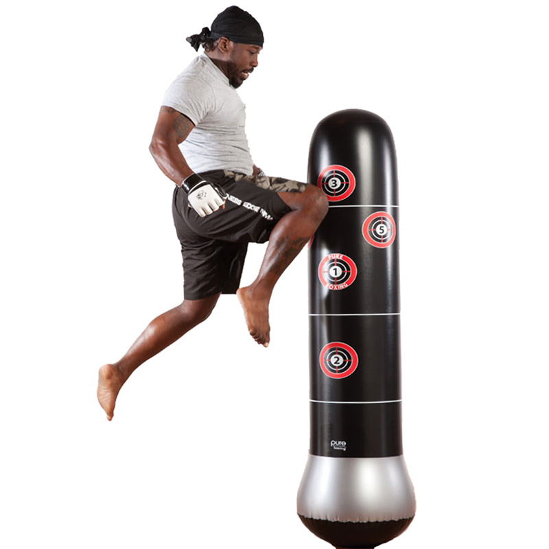 Boxing Punching Bag Inflatable Free-Stand Muay Thai Pressure Relief Trainin P4Z2