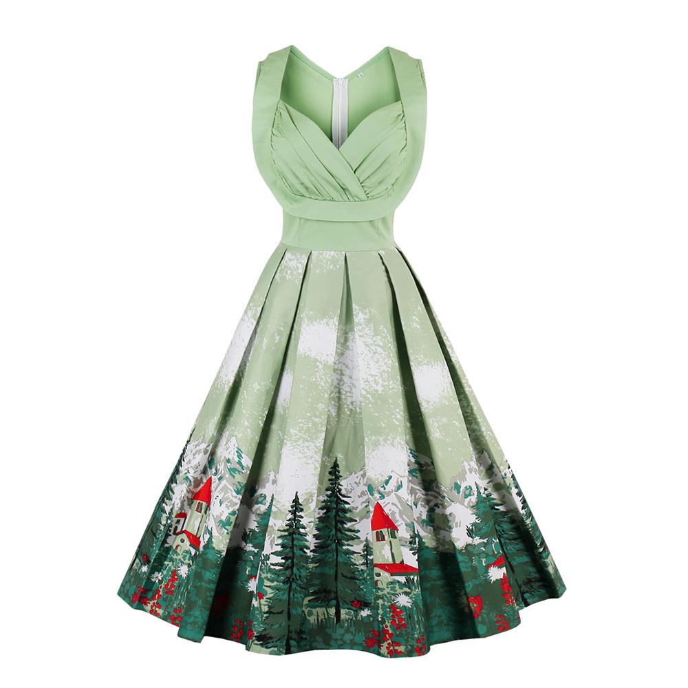 Damen Vintage Mädchen Kleid Vintage Xmas Swing Retro Party Kleider ...
