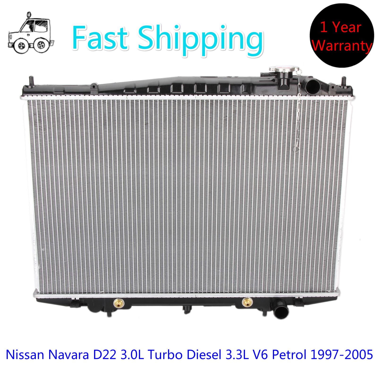 Radiator for Nissan Navara D22 3.0L Turbo Diesel 3.3L V6 Petrol 1997-2005  AT/MT