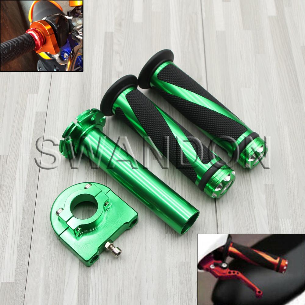 UK 22mm 7//8/'/' CNC Hand Grips Throttle Twist Tube Lever Motorcycle Bike Green