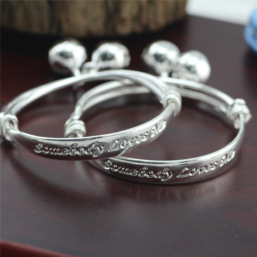 18b1f49ce162a Details about Gift 2pcs Silver Plated Baby Kid Bell Bangle Bracelet English  Letter Sanwood
