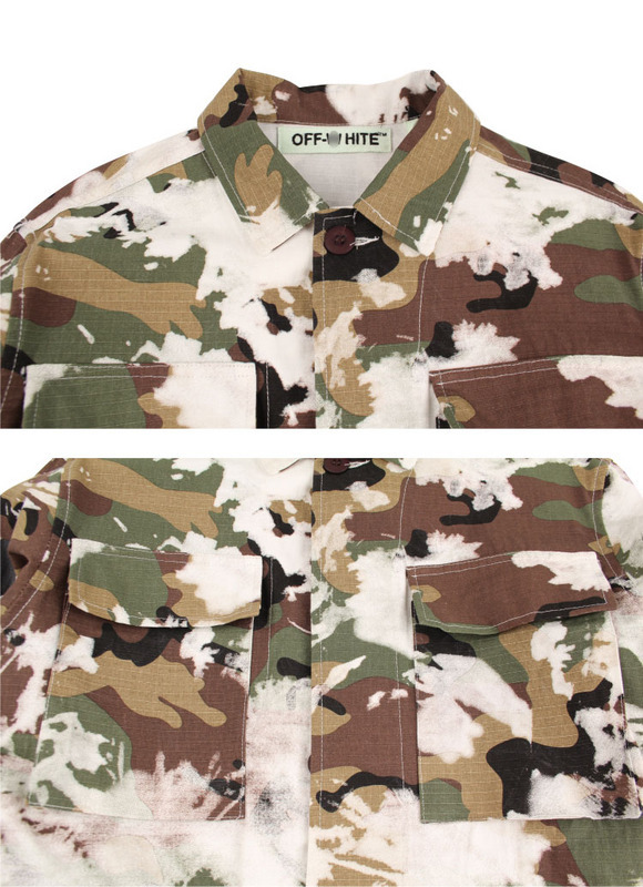 Street Men/'s Oversized Justin Bieber Off White Camouflage Military Hoodie