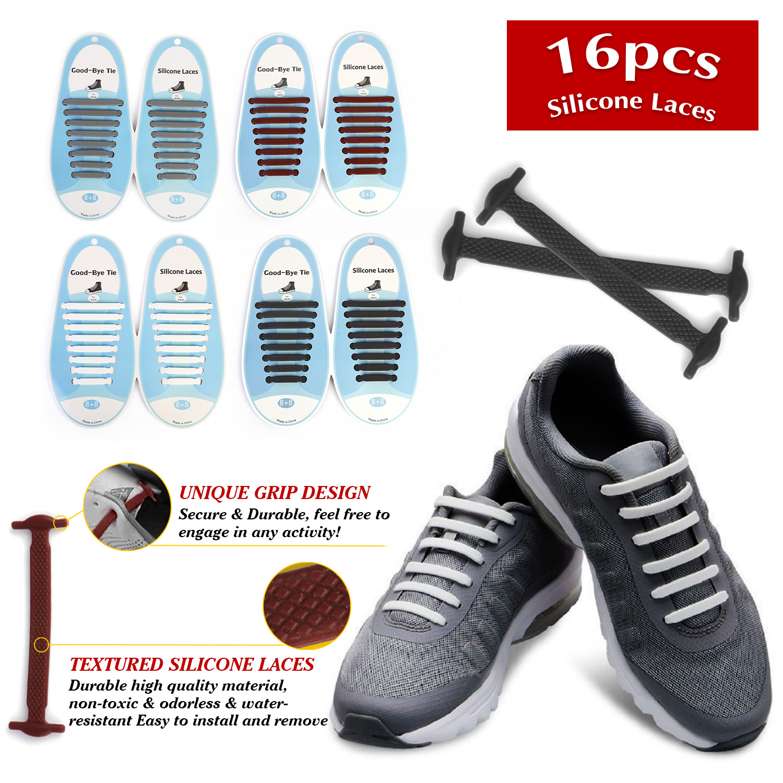 45934c228 Details about Easy Lazy No Tie Shoelaces Elastic Silicone Shoe Laces Unisex Kids  Adult